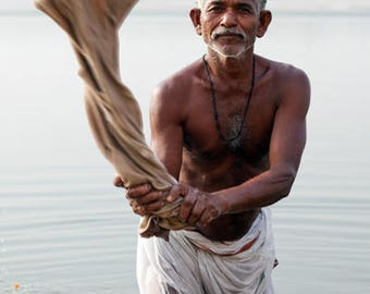 Man Washing in the Ganges River