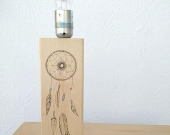 Lámpara atrapasueños madera
