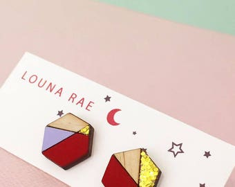 Geo Stud Earrings - Red/Lilac/Gold