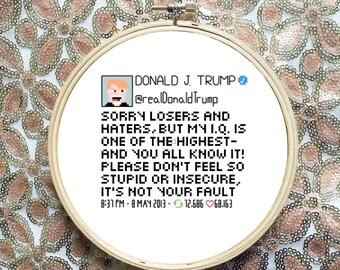 Modern Cross Stitch Pattern Donald Trump Tweet Subversive Cross Stitch Pattern  Funny Cross Stitch Pattern xstitch