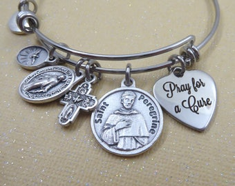 St. Peregrine Cancer Healing Prayer Bangle Bracelet, Patron Saint of Cancer Patients, Pray For A Cure, Get Well Gift, Elegant Presenation