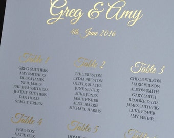 Wedding Table Plan, Gold Foil, Table Plan, Seating Chart, Personalised, The Violet Collection