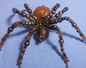 Pumpkin Beaded Spider