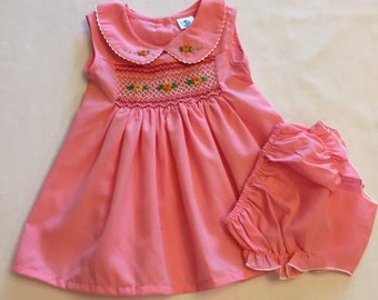 Sleeveless baby girl hand smocked hand embroidered pink dress with diaper cover bloomer 9 months