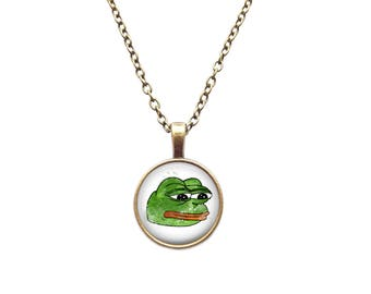 Pepe frog pendant Meme chain Watercolor necklace