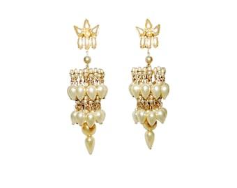 Vintage Round & Teardrop Faux Pearl Gold Toned 2 Tier Chandelier Earrings