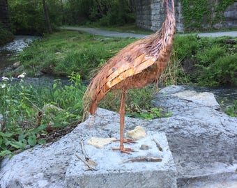Great Blue Heron Copper Sculpture, Garden Sculpture, 6th Anniversary Gift for Him, Copper Sculpture by William Brock, Rusted Bird Studio