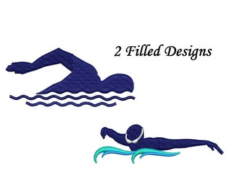 Swimmer Embroidery Design - 2 designs instant download swimming embroidery