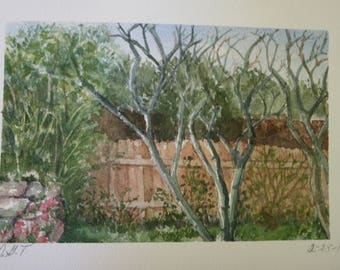 Privacy Fence Watercolor Painting