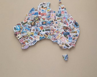 Austraila Map featuring Aussie stamps
