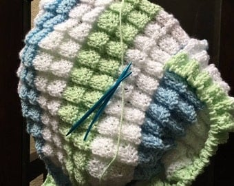 Hand knit newborn boy's blanket