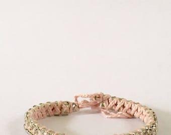 Pink and Silver Rhinestone Woven Friendship Bracelet