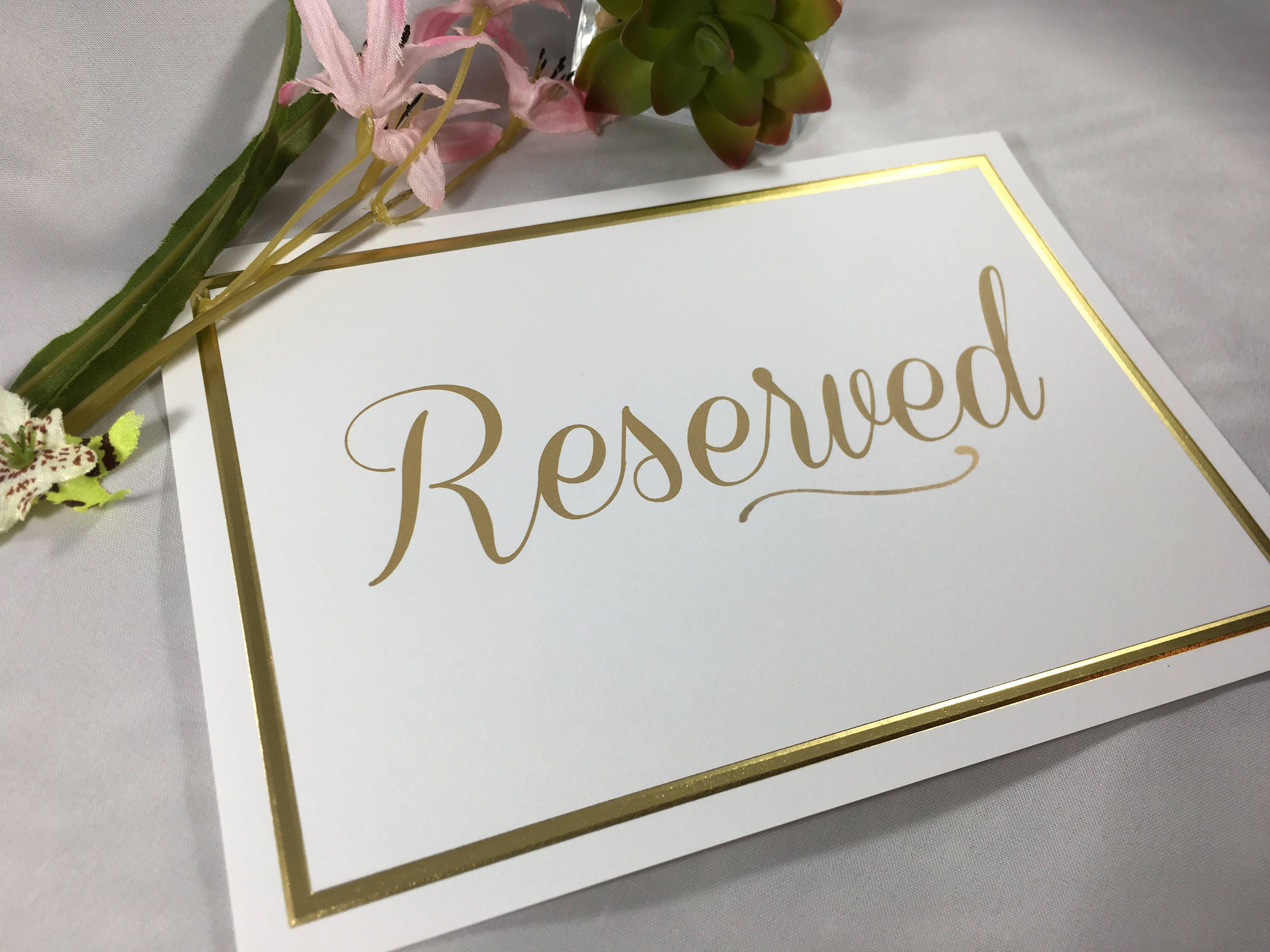 10 Elegant Gold Foil White and Gold Reserved Signs for Wedding ...
