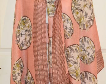 Peach Pink Spring Scarf
