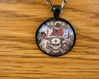 "High Roller necklace, glass charm in a black frame with a 34"" gunmetal chain"