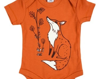 Fox Baby Clothes Organic BABY CLOTHES, Fox Baby Gift / Fox Baby Shower Gift, woodland fox baby items, organic baby clothing fox baby outfit