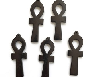 Ankh Pendants Black Bone Carved Charm Egyptian Eternal Life Jewelry Making Lot Horn