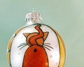 Orange Kitty Butt Christmas Ornament