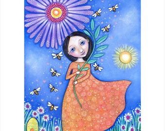 Womens Wall Art Print Beekeeper folk art painting girl and bees wall decor bee girl art print gift for sister whimsical kids room picture