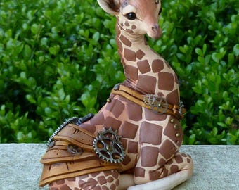 Baby Giraffe Steampunk Myxie Pal Sculpture