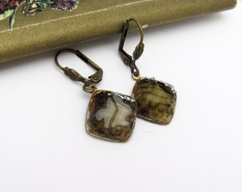 Vintage Beaded Earrings, Faux Tortoise Givre Glass Molded Glass, Dangle Drop Earrings, Brown Green Earrings, Lever Back Clip On French Hook
