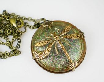 Dragonfly Necklace Pink Green Czech Glass Button Oxidzed Brass Vintage Inspired Jewelry