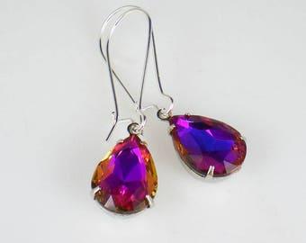 Violet Blue Pink Orange Rhinestone Drop Earrings