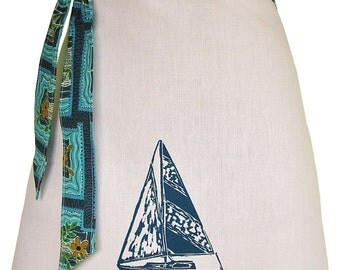 Organic block print sailboat apron