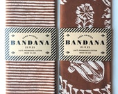 Set of 2 Brown Bandanas, Hand Screen Printed and Soft