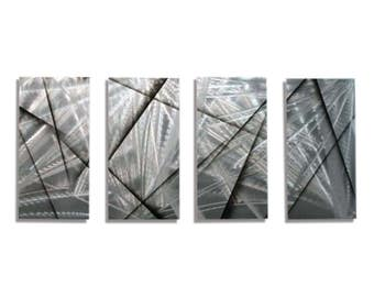 Silver & Black Modern Metal Wall Art, Abstract Metal Painting, Contemporary Wall Sculpture, Home and Office Decor - Finish Line by Jon Allen