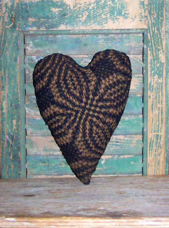 Antique Coverlet Heart Pillow, Rustic Pillow, Blue Pillow, Primitive Decor, Farmhouse Decor, Americana Cottage, Small Pillow - READY TO SHIP
