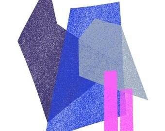 Hot Pink, Cobalt, Midnight Blue & Gray Jumble: Modern Geometric Art Print
