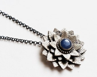 Sterling Silver and Kyanite Layered Floral Pendant