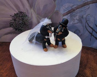 Dachshund dogs Wedding Cake Topper, handmade, clay, OOAK, black and tan, bride and groom, free standing, whimsical