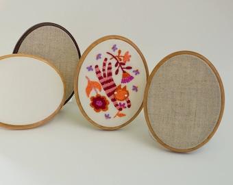 "Mini embroidery frame hoop - USA made high quality finish hardwood - Kona cotton - 3"" x 4"" - Stitch and Gift"