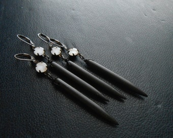 doppelganger earrings - black howlite spikes with white moonglow stones - black and white edgy occult festival fashion jewelry