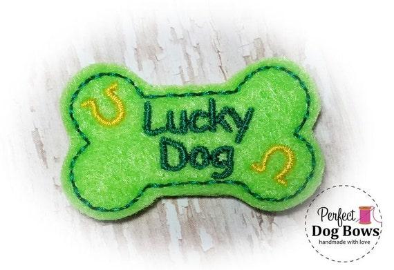 Dog Bow, St Pattys Day, Lucky Dog Bone, Puppy Dog Bow for St Patricks Day, Horseshoe