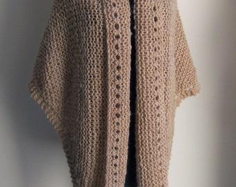 SALE - Extra Large Hand Knit Triangle Shawl Wrap Poncho Cape, Stylish Comfort Prayer Meditation, Tan Blush,  Ready to Ship, FREE SHIPPING