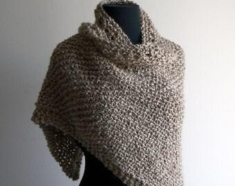 Custom Made Hand Knit Triangle Shawl Wrap, Small/Medium, Soft Textured Acrylic, Vegan, FREE SHIPPING