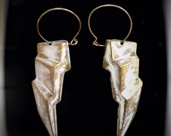 White Lightning Earrings - hand painted thunderbolts, white and gold, Bowie, New Year's Eve, thunderstorm, stormy weather