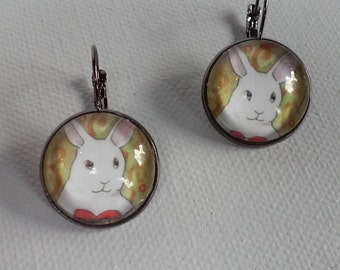 Bunny Face Earring Pair - Glass and Metal Pierced Ear Earrings