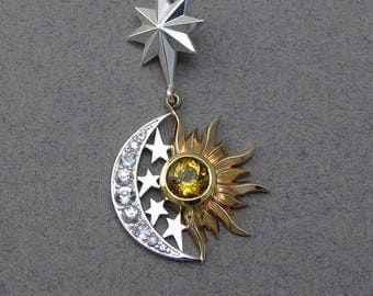 RESERVED for cng - 1st payment SUN and MOON Eclipse silver and 14k gold pendant with Golden Beryl