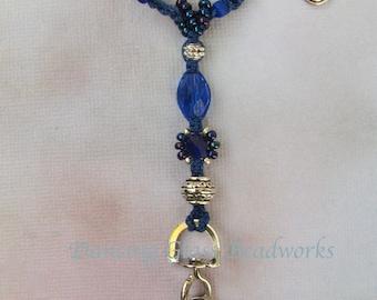 Badge Lanyard, Badge Holder, Key Holder, Crochet lanyard, beaded lanyard, dark blue lanyard, badge jewelry,celtic charm lanyard