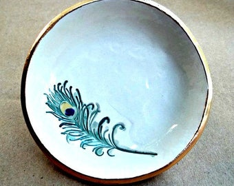 Ceramic Ring Holder Bowl OFF WHITE with peacock feather edged in gold