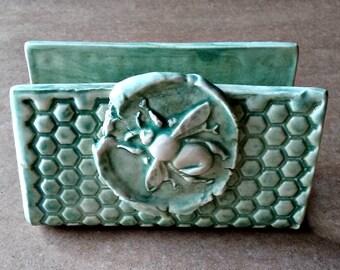 Ceramic Sponge Holder Business Card Holder Pale Sea Green Bee
