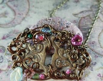 Antique Keyhole Escutcheon Antiqued Brass Wire Wrapped Pendant