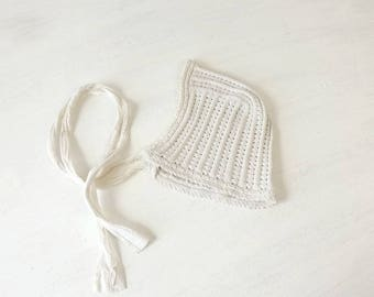 Vintage Baby Bonnet Cap, Hand Crocheted and Knitted