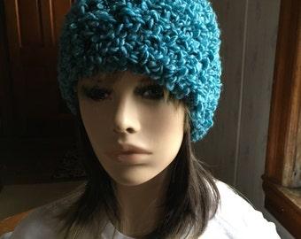 Warm Winter Hat in Crochet Blue Boucle Ladies Hat