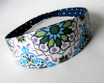 Fabric Headband Medallion Geo Blue,women headband, women hairband, Reversible Fabric Hairband, Fashion Accessories,women's accessories