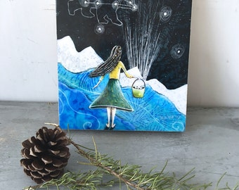 Little girl nursery art, constellation art, home decor, big dipper, gathering stars, baby shower gift, Mounted Print, on wood panel